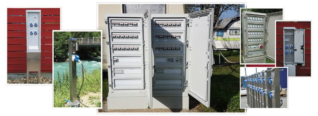 Шкафы с розетками в публичных местах и на открытом воздухе