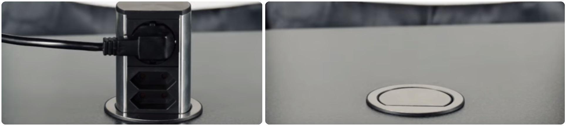 Встраиваемые выдвижные розетки в столешницу