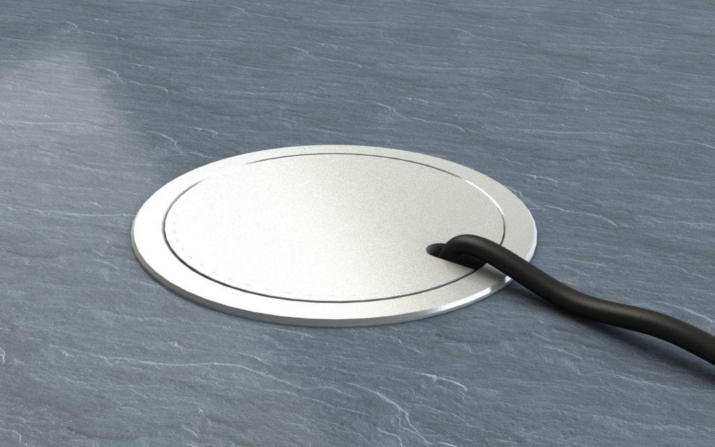 Напольная розетка с откидной алюминиевой крышкой